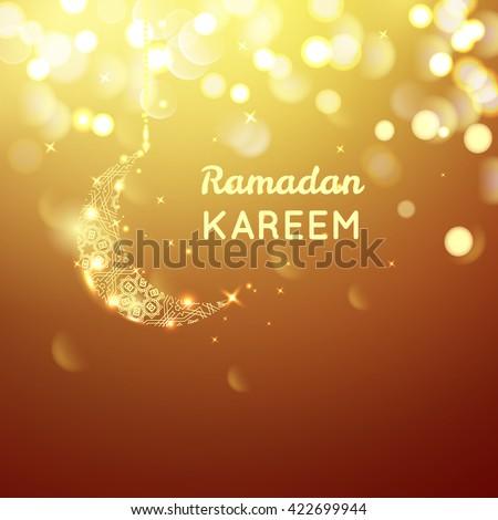 beautiful golden moon  ramadan