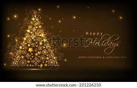 beautiful golden xmas tree on shiny brown background for merry christmas new year and happy