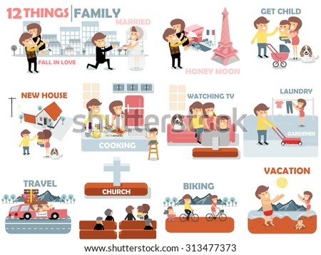 beautiful graphic design of family,12 things of family activities consist of fall in love, married, honey moon, child, buying new house, cooking, watching TV, laundry, gardener, travel, biking and to the beach