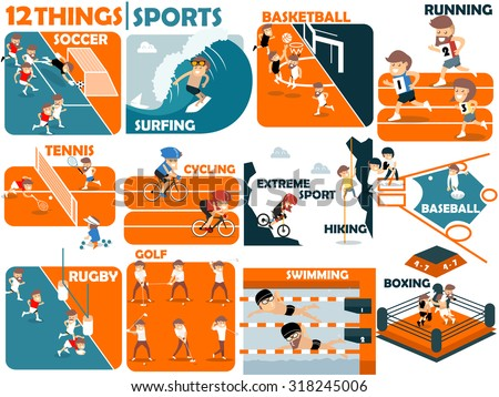 beautiful graphic design of popular sports:soccer,surfing,basketball,running,tennis,cycling,extreme sports,hiking,baseball,rugby,golf,swimming and boxing