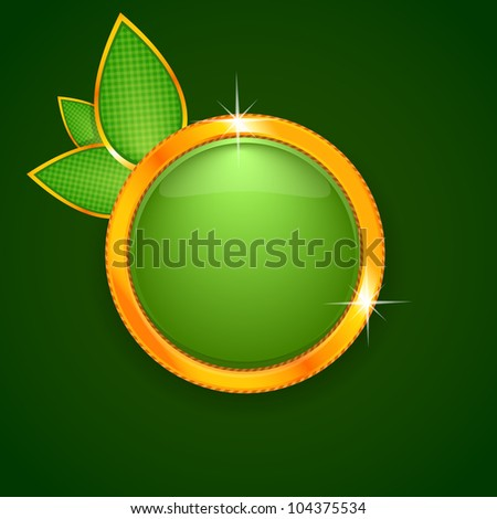 Beautiful green label in the form of apple on green background. Vector Illustration