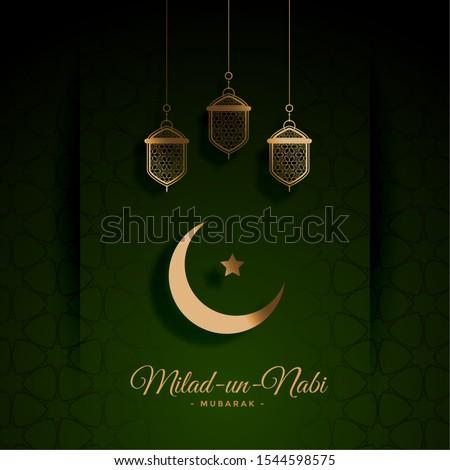 beautiful green milad un nabi festival card design