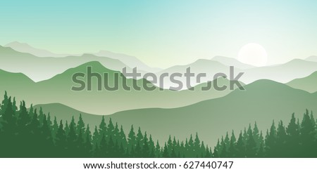Beautiful Green Mountains Vector Landscape with Pine Forest in Foggy Sunrise.