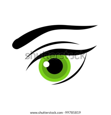 Beautiful green woman eye. Vector illustration