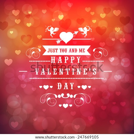 Beautiful greeting card design for Happy Valentines Day celebration on hearts decorated shiny red and pink background.