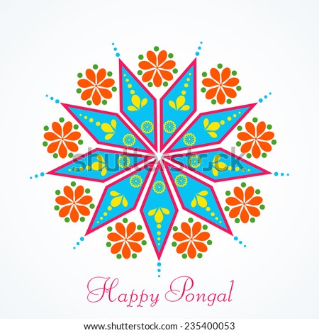Beautiful greeting card design with colorful rangoli for South Indian harvesting festival Happy Pongal celebrations