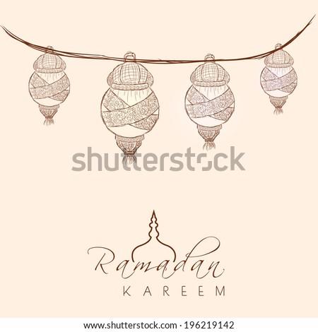 Beautiful greeting card design with hanging arabic lanterns on brown background for celebration of holy month of Ramadan Kareem