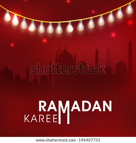Beautiful greeting card design with silhouette of mosque in shiny night background for Ramadan Kareem celebrations
