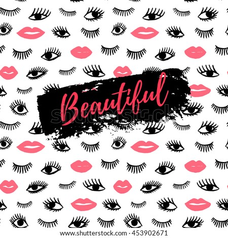 Beautiful greeting card, fashion poster. Hand drawn eye, pink lips doodles seamless pattern in retro style. Vector beauty illustration of open and close eyes for cards, textiles, backgrounds.