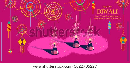 Beautiful greeting card for celebration of shubh deepawali and happy Diwali Holiday background for light festival of India with message in Hindi meaning 'greetings for Happy Dipawali' Stock photo ©