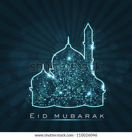 Beautiful greeting card for Eid Mubarak festival with shiny Mosque and Masjid image. EPS 10.