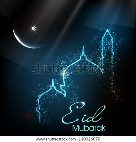 Beautiful greeting card for Eid Mubarak festival with shiny Mosque and Masjid image EPS 10
