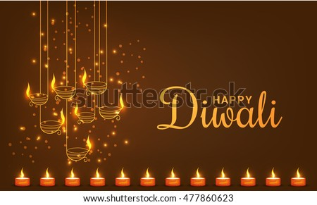 Beautiful greeting card for festival of diwali celebration with decorated hanging diya.