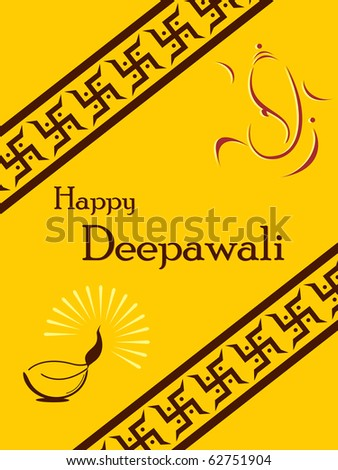 beautiful greeting cards for diwali celebration - stock vector