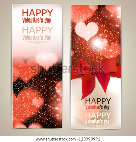 Beautiful greeting cards with red bows and copy space. Valentine's day. Vector illustration