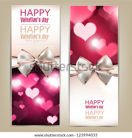 Beautiful greeting cards with white bows and copy space. Valentine's day. Vector illustration