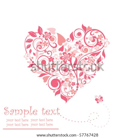 Beautiful greeting floral heart