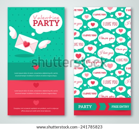 Beautiful greeting or invitation cards with speech bubbles pattern. Valentine\'s day. Vector illustration. Typographic template for your text. Romantic Lovely Design for Mothers Day.