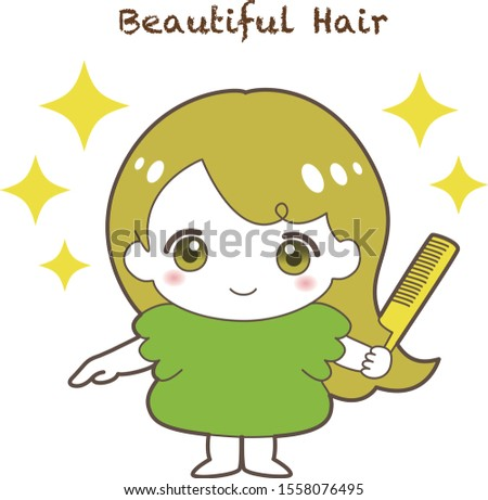 beautiful hair girl with comb