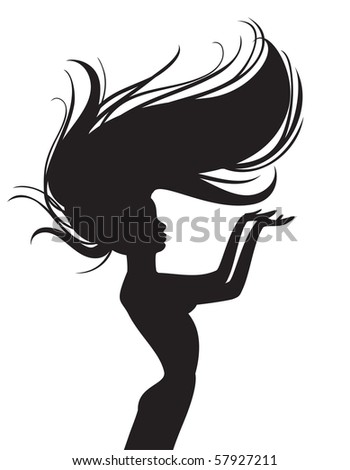 beautiful hair silhouette