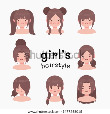 Beautiful hairstyle woman modern fashion for assortment. long hair, short hair, curled hair salon hairstyles and trendy haircut vector isolated on white background. vector cartoon.