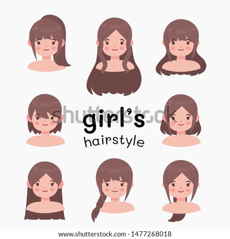 Beautiful hairstyle woman modern fashion for assortment. long hair, short hair, curly hair salon hairstyles and trendy haircut vector isolated on white background. vector cartoon.