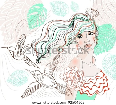 Beautiful hand drawing background with tender girl and flowers, vector