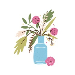 Beautiful hand drawn bouquet of blooming seasonal flowers in vase vector flat illustration. Elegant floral bunch isolated on white background. Gorgeous natural plant with branches and leaves