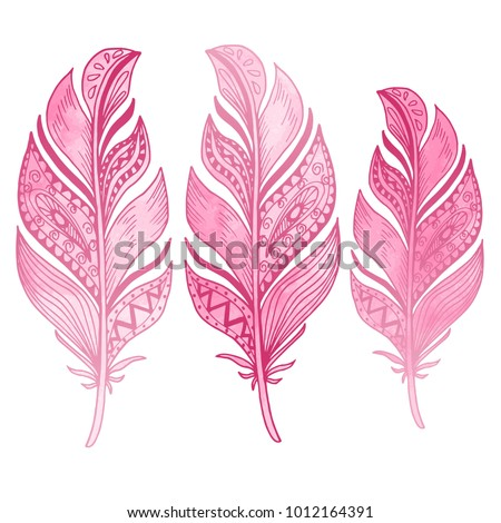 Beautiful hand drawn feather doodle, curly boho sketch with watercolor pink texture isolated on white background. Vintage vector illustration.