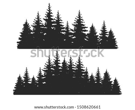 Beautiful hand drawn forest fir trees silhouettes, coniferous spruce horizontal background pattern, Black evergreen woods vector illustration