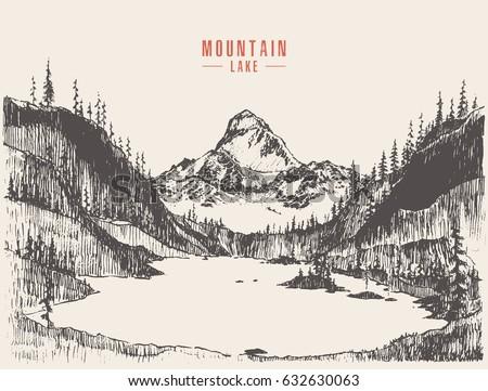beautiful hand drawn mountain