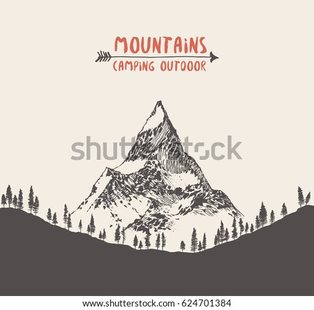 beautiful hand drawn mountain