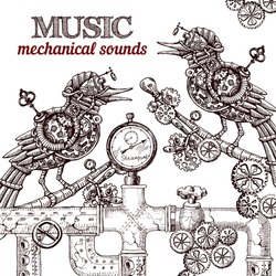 Beautiful hand drawn poster- mechanical bird. Steampunk style.