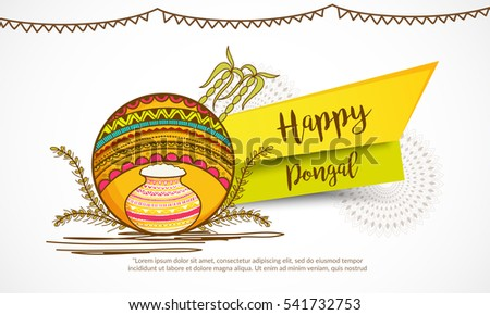 Beautiful hand drawn traditional pot with decorated Floral Frame background for Pongal south indian harvesting festival.