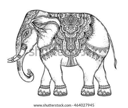 Beautiful Hand Drawn Tribal Style Elephant Coloring Book Design With Boho Mandala Patterns