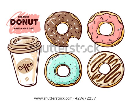 Beautiful hand drawn vector illustration donut. Sketch style donut. Donut for your design.