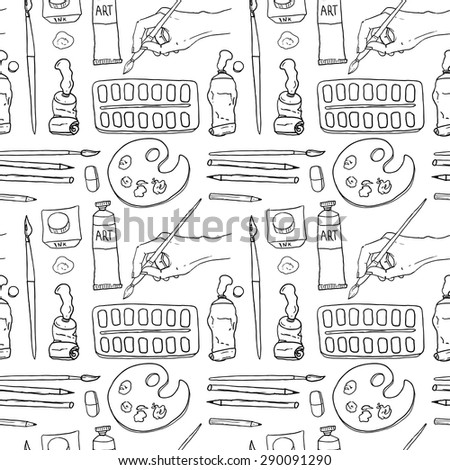 Beautiful hand drawn vector seamless pattern workplace art