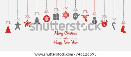 Beautiful hanging Christmas decorations with wishes - card. Vector.