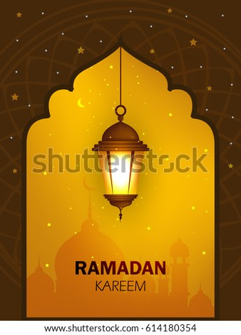 Beautiful Hanging Shiny Lamp with Masjid or Mosque Door background Illustration. Ramadan Kareem, Ramadan Mubarak, Arabic Pattern.