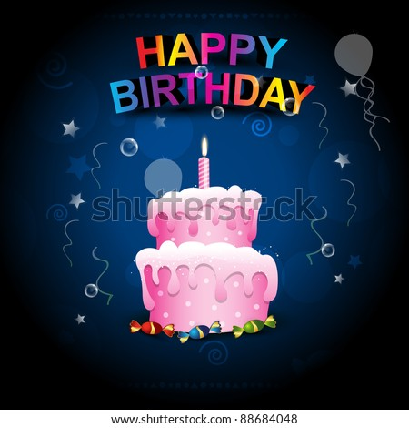 Beautiful happy birthday cake on artistic background stock vector