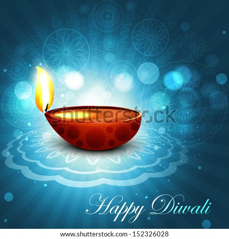 Beautiful happy diwali bright blue colorful hindu diya festival background illustration
