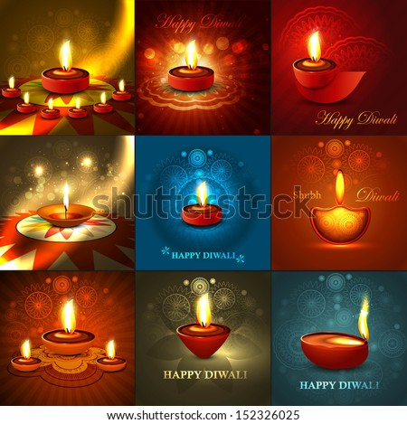 Beautiful happy diwali 9 collection presentation bright colorful hindu festival background