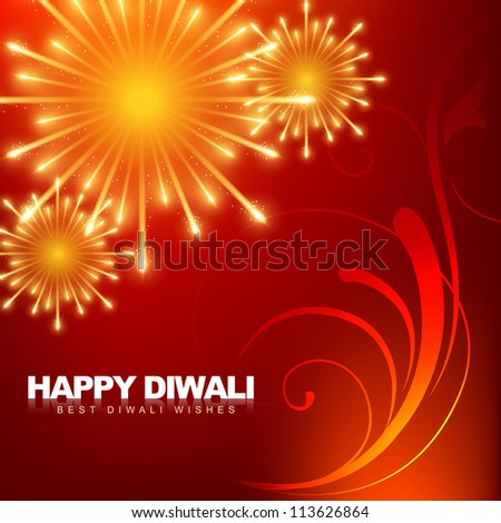 beautiful happy diwali fireworks vector illustration