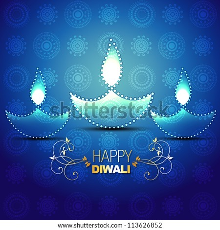 beautiful happy diwali vector background - stock vector