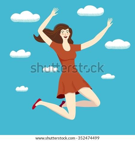 Beautiful Happy Girl Jumping Up In The Skies. Feelings Of ...