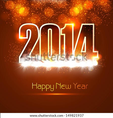 Beautiful Happy new year 2014 bright colorful celebration background vector