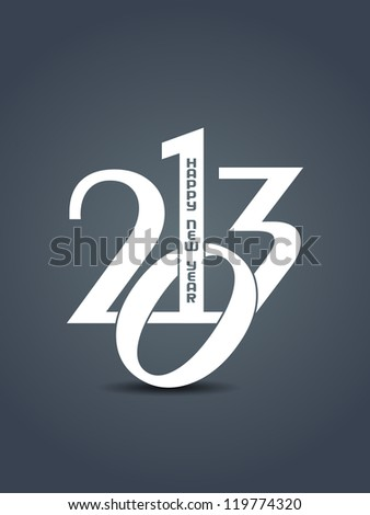 beautiful happy new year 2013 design element in white color. - stock vector