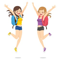 Beautiful happy young students best friends girls jumping
