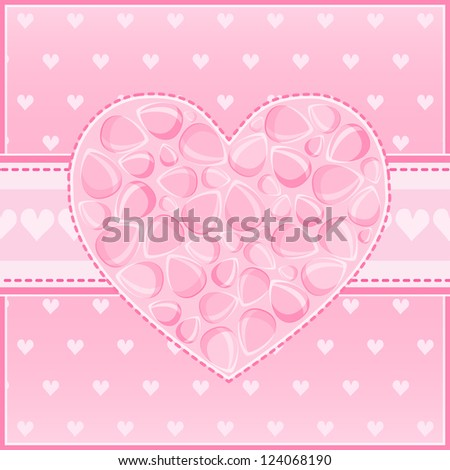 Beautiful Heart of Pink Flower Petals Greeting St Valentine Day Card