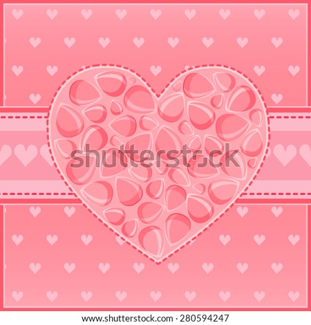 Beautiful Heart of Red Flower Petals Greeting St Valentine Day Card